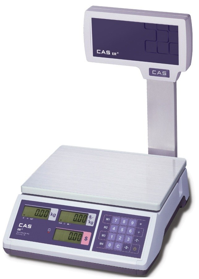 CAS ER-Junior 15kg x 5g/30kg x 10g Dual Range Price Computing Retail Scale With Pole